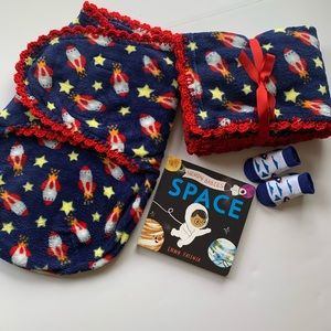 🌺SOLD🌺Space Rockets & Stars Crochet Baby Blanket